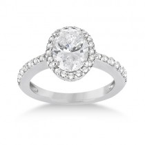 Oval Halo Diamond Engagement Ring Setting 18k White Gold (0.36ct)