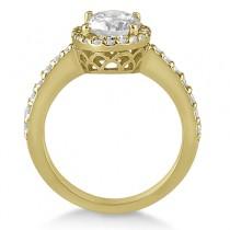 Oval Halo Diamond Engagement Ring Setting 18k Yellow Gold (0.36ct)