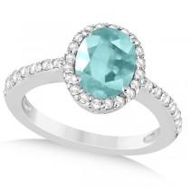 Oval Halo Aquamarine Engagement Ring Setting 14k White Gold (3.29ct)