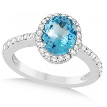 Oval Halo Blue Topaz Engagement Ring Setting 14k White Gold (3.29ct)