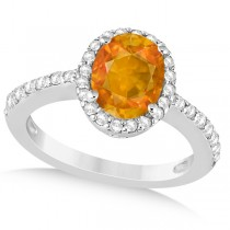 Oval Halo Citrine Engagement Ring Setting 14k White Gold (3.29ct)