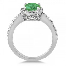 Oval Halo Emerald Engagement Ring Setting 14k White Gold (3.29ct)