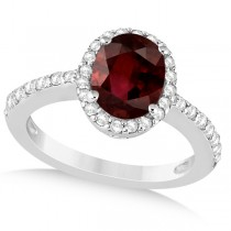Oval Halo Garnet Engagement Ring Setting 14k White Gold (3.29ct)