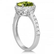 Oval Halo Peridot Engagement Ring Setting 14k White Gold (3.29ct)