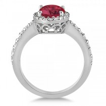Oval Halo Ruby Engagement Ring Setting 14k White Gold (3.29ct)