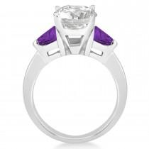 Amethyst Three Stone Trilliant Engagement Ring 14k White Gold (0.70ct)