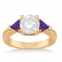 Amethyst Three Stone Trilliant Engagement Ring 18k Rose Gold (0.70ct)