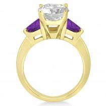 Amethyst Three Stone Trilliant Engagement Ring 18k Yellow Gold (0.70ct)