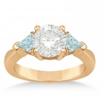 Aquamarine Three Stone Trilliant Engagement Ring 14k Rose Gold (0.70ct)
