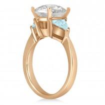 Aquamarine Three Stone Trilliant Engagement Ring 14k Rose Gold (0.70ct)