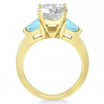 Aquamarine Three Stone Trilliant Engagement Ring 14k Yellow Gold (0.70ct)