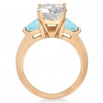 Aquamarine Three Stone Trilliant Engagement Ring 18k Rose Gold (0.70ct)