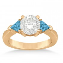 Blue Diamond Three Stone Trilliant Engagement Ring 14k Rose Gold (0.70ct)