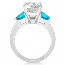Blue Diamond Three Stone Trilliant Engagement Ring 14k White Gold (0.70ct)