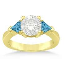 Blue Diamond Three Stone Trilliant Engagement Ring 14k Yellow Gold (0.70ct)
