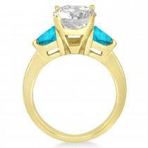 Blue Diamond Three Stone Trilliant Engagement Ring 14k Yellow Gold (0.70ct)