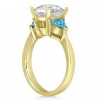 Blue Diamond Three Stone Trilliant Engagement Ring 18k Yellow Gold (0.70ct)