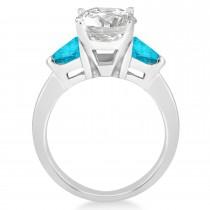 Blue Diamond Three Stone Trilliant Engagement Ring Platinum (0.70ct)