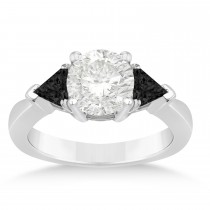 Black Diamond Three Stone Trilliant Engagement Ring 14k White Gold (0.70ct)