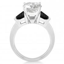 Black Diamond Three Stone Trilliant Engagement Ring 14k White Gold (0.70ct)