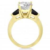 Black Diamond Three Stone Trilliant Engagement Ring 14k Yellow Gold (0.70ct)