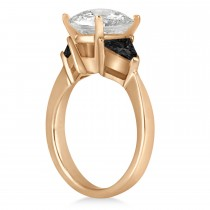 Black Diamond Three Stone Trilliant Engagement Ring 18k Rose Gold (0.70ct)