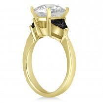 Black Diamond Three Stone Trilliant Engagement Ring 18k Yellow Gold (0.70ct)