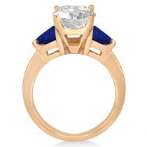 Blue Sapphire Three Stone Trilliant Engagement Ring 14k Rose Gold (0.70ct)