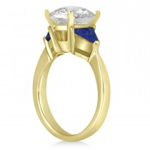 Blue Sapphire Three Stone Trilliant Engagement Ring 14k Yellow Gold (0.70ct)