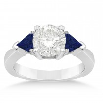 Blue Sapphire Three Stone Trilliant Engagement Ring 18k White Gold (0.70ct)