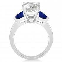 Blue Sapphire Three Stone Trilliant Engagement Ring 18k White Gold (0.70ct)