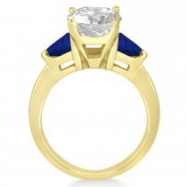 Blue Sapphire Three Stone Trilliant Engagement Ring 18k Yellow Gold (0.70ct)