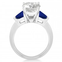 Blue Sapphire Three Stone Trilliant Engagement Ring Palladium (0.70ct)