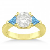 Blue Topaz Three Stone Trilliant Engagement Ring 14k Yellow Gold (0.70ct)