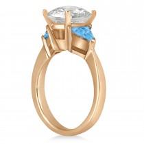 Blue Topaz Three Stone Trilliant Engagement Ring 18k Rose Gold (0.70ct)