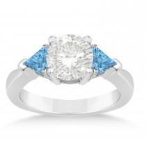 Blue Topaz Three Stone Trilliant Engagement Ring 18k White Gold (0.70ct)