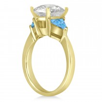 Blue Topaz Three Stone Trilliant Engagement Ring 18k Yellow Gold (0.70ct)