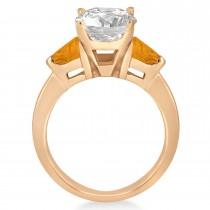 Citrine Three Stone Trilliant Engagement Ring 14k Rose Gold (0.70ct)