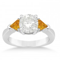 Citrine Three Stone Trilliant Engagement Ring 14k White Gold (0.70ct)