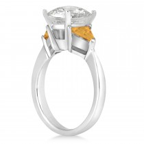 Citrine Three Stone Trilliant Engagement Ring 14k White Gold (0.70ct)