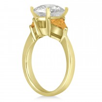 Citrine Three Stone Trilliant Engagement Ring 14k Yellow Gold (0.70ct)