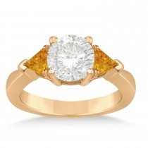 Citrine Three Stone Trilliant Engagement Ring 18k Rose Gold (0.70ct)