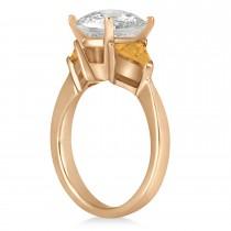 Citrine Three Stone Trilliant Engagement Ring 18k Rose Gold (0.70ct)