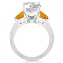 Citrine Three Stone Trilliant Engagement Ring Palladium (0.70ct)