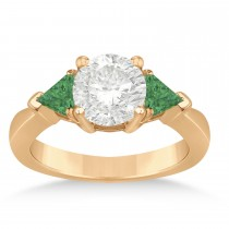 Emerald Three Stone Trilliant Engagement Ring 14k Rose Gold (0.70ct)