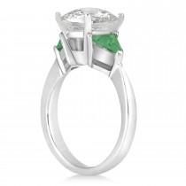 Emerald Three Stone Trilliant Engagement Ring 14k White Gold (0.70ct)