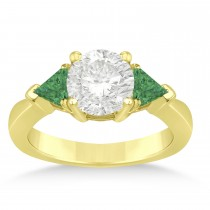 Emerald Three Stone Trilliant Engagement Ring 14k Yellow Gold (0.70ct)
