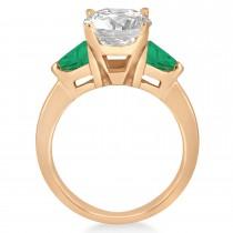 Emerald Three Stone Trilliant Engagement Ring 18k Rose Gold (0.70ct)
