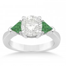 Emerald Three Stone Trilliant Engagement Ring 18k White Gold (0.70ct)