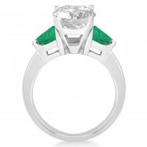 Emerald Three Stone Trilliant Engagement Ring 18k White Gold (0.70ct)